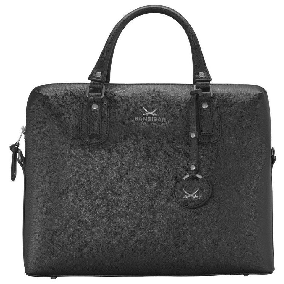 SANSIBAR Chic Handtasche Henkeltasche 36,5 cm in black