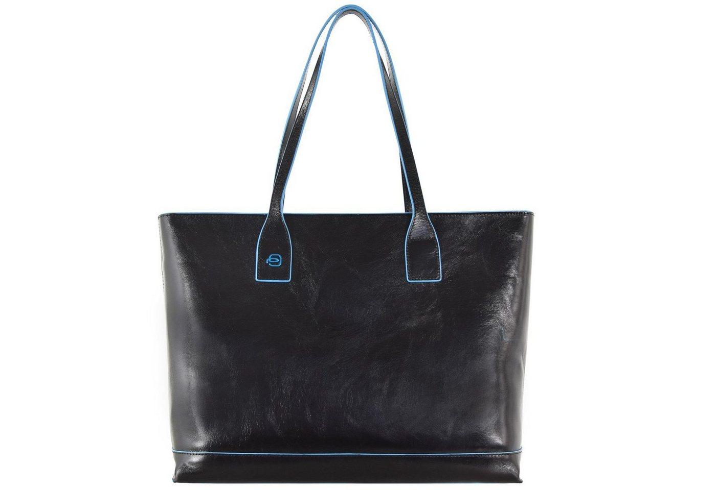 Piquadro Blue Square Shopper Tasche Leder 35 cm | Taschen > Umhängetaschen | Schwarz | Piquadro