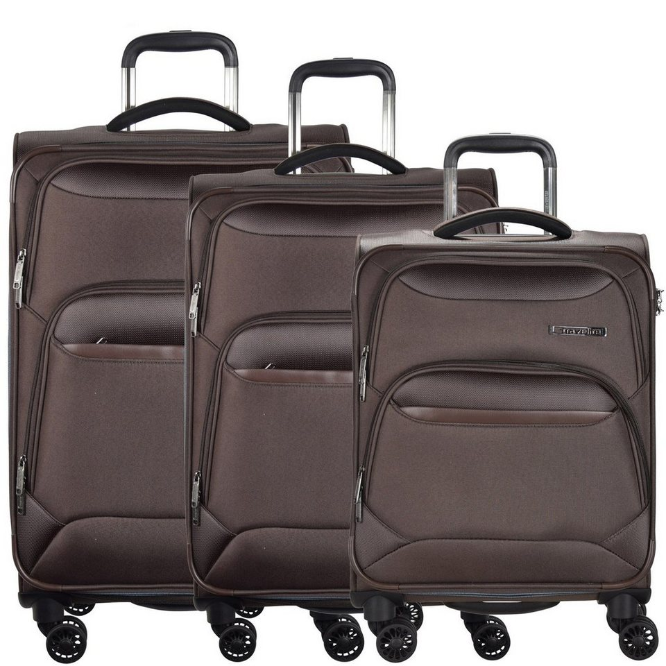 travelite Kendo 4-Rollen Trolley Kofferset 3-tlg. in braun