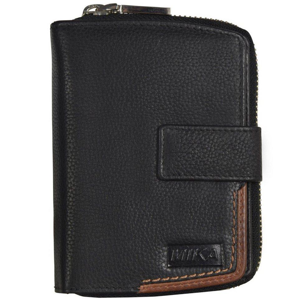 Mika Lederwaren Geldbörse III Leder 10 cm in schwarz-braun