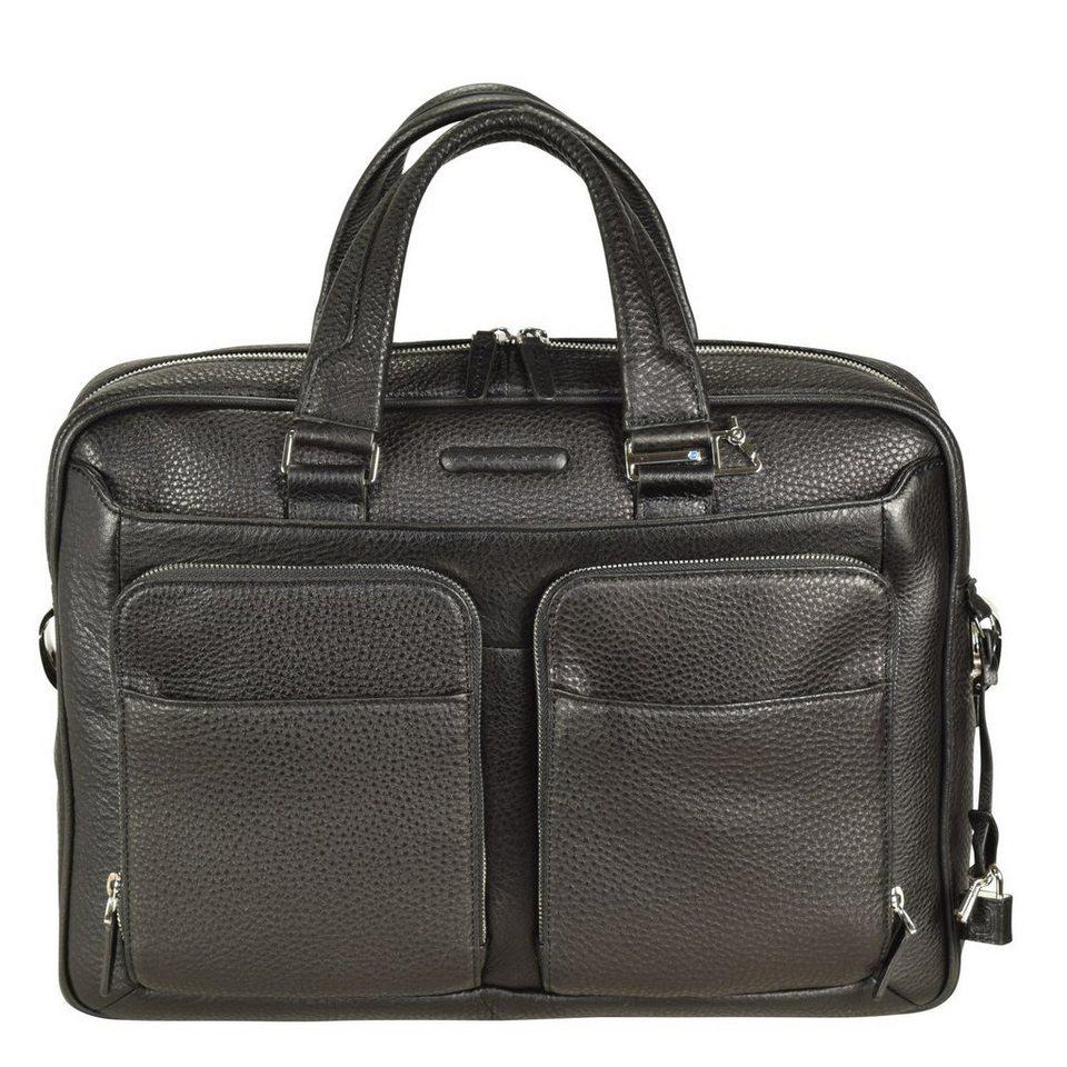 Piquadro Piquadro Modus Aktentasche Leder 39 cm Laptopfach in schwarz