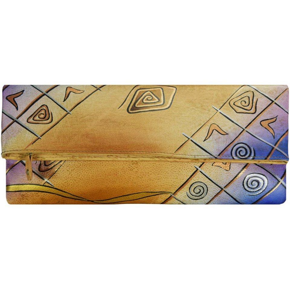 GREENLAND Art + Craft Clutch Tasche Leder 30 cm in bunt