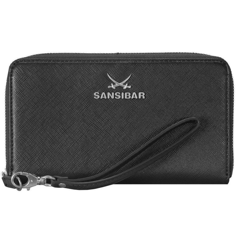 SANSIBAR Chic Geldbörse Clutch Tasche Leder 19,5 cm Handyfach in black