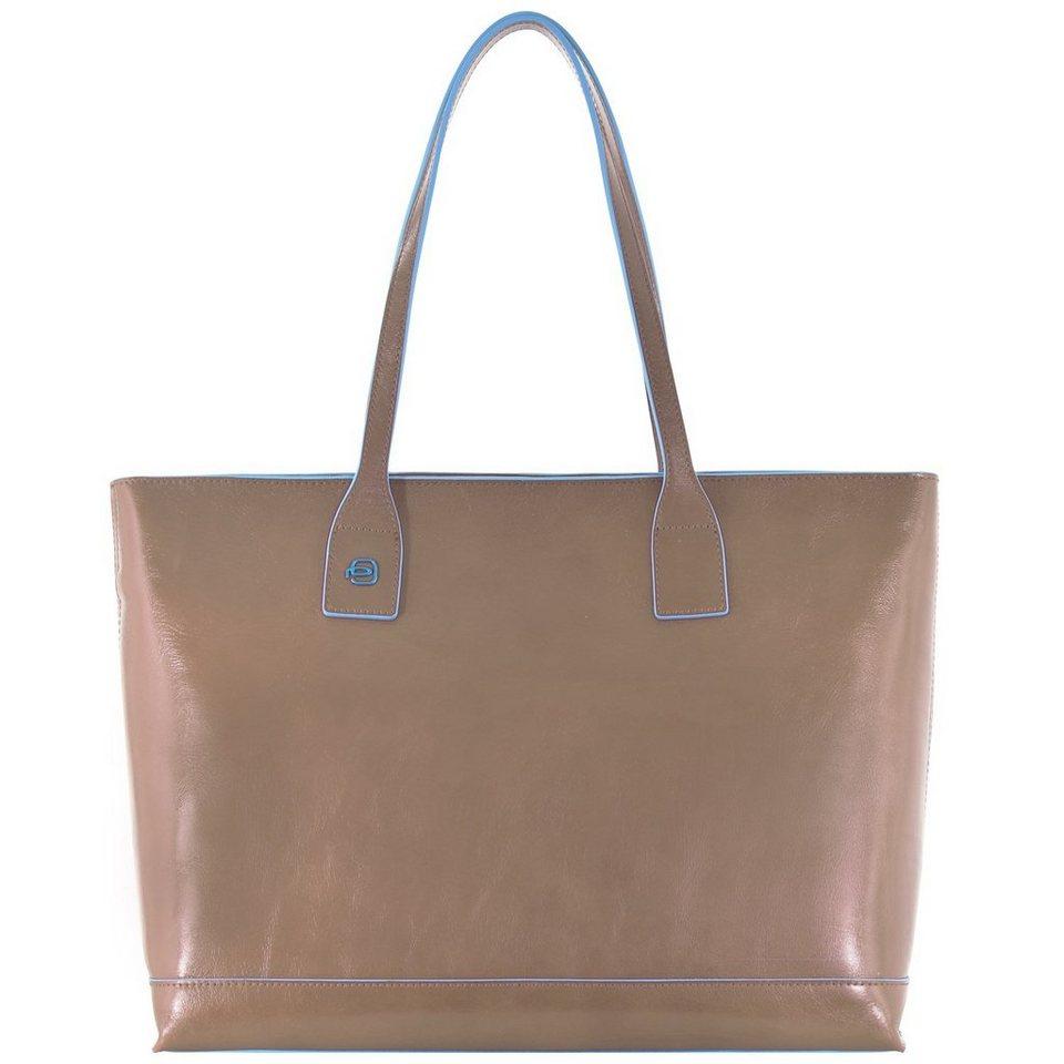 Piquadro Blue Square Shopper Tasche Leder 35 cm in taupe2