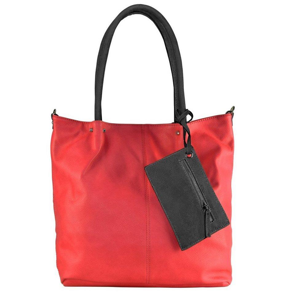 Maestro Surprise Bag in Bag Shopper Tasche 41 cm in rot schwarz