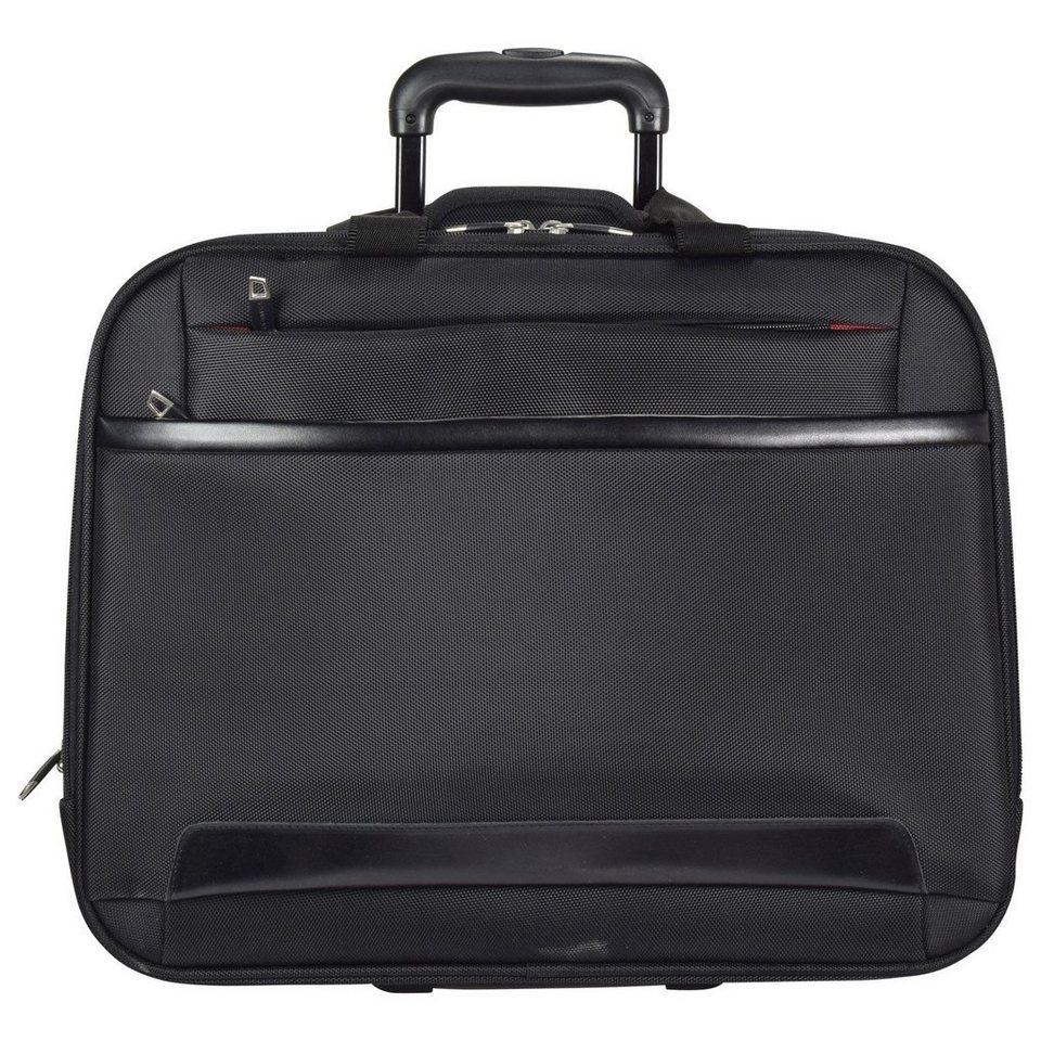 Dermata 2-Rollen Trolley Business 44,5 cm Laptopfach in schwarz