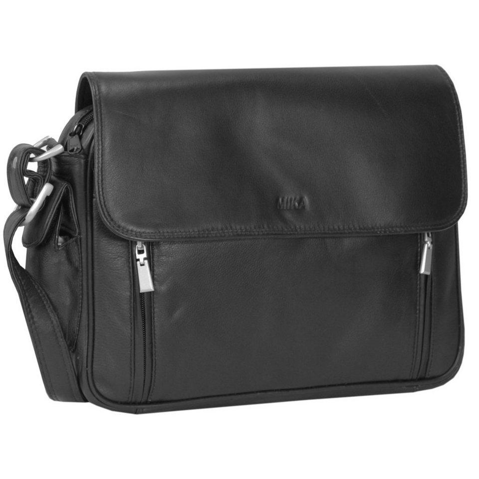 Mika Lederwaren Soft Nappa Damentaschen Umhängetasche Leder 30 cm in schwarz