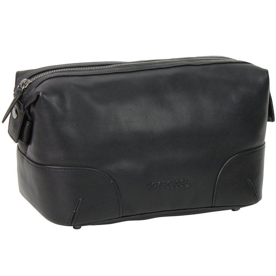 Roy Robson Techno/Nappa Kulturbeutel Leder 26 cm in schwarz