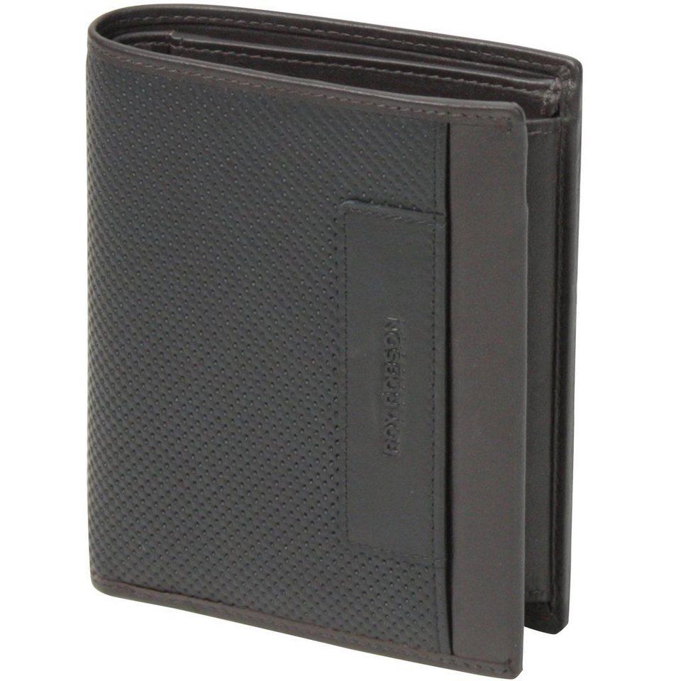 Roy Robson Perforated Geldbörse Leder 10 cm in schwarz