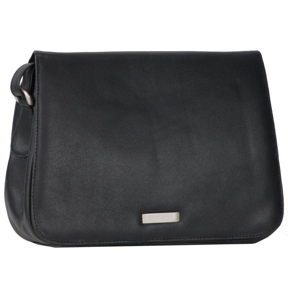 Mika Lederwaren Soft Nappa Damentaschen Flap Bag Leder 25 cm in schwarz - grau