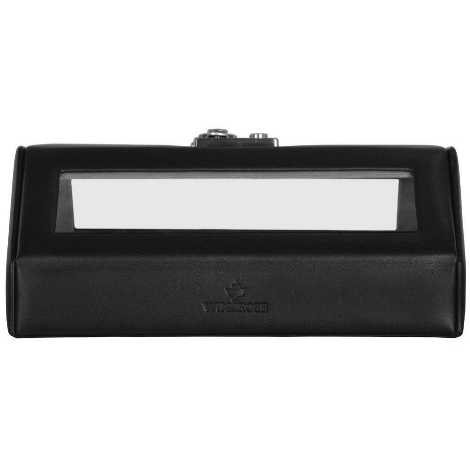 Windrose Windrose Nappa Uhrenkassette 23 cm Leder in schwarz