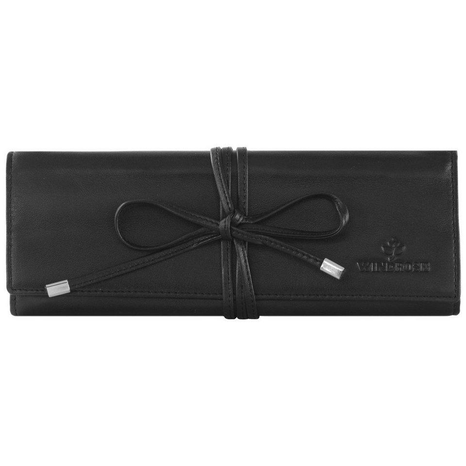 Windrose Nappa Schmuckrolle 21 cm Leder in schwarz