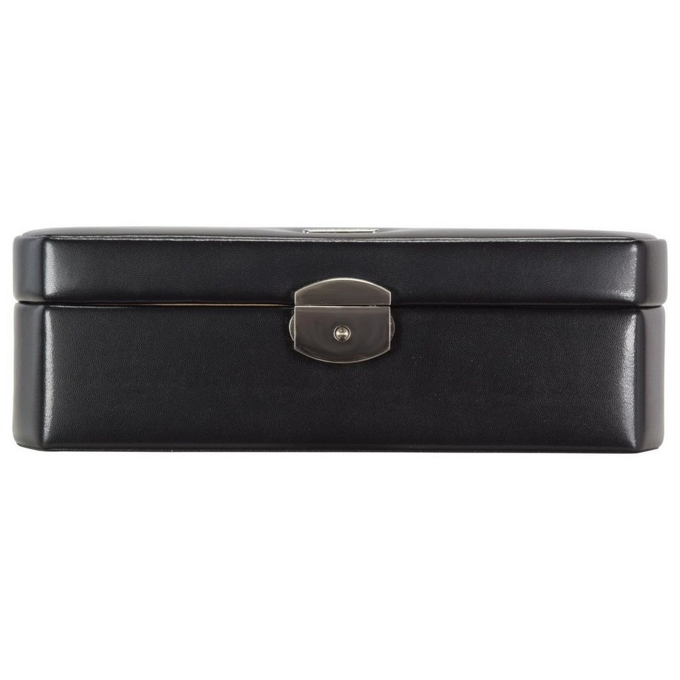Windrose Classico Uhrenbox 26 cm Leder in schwarz
