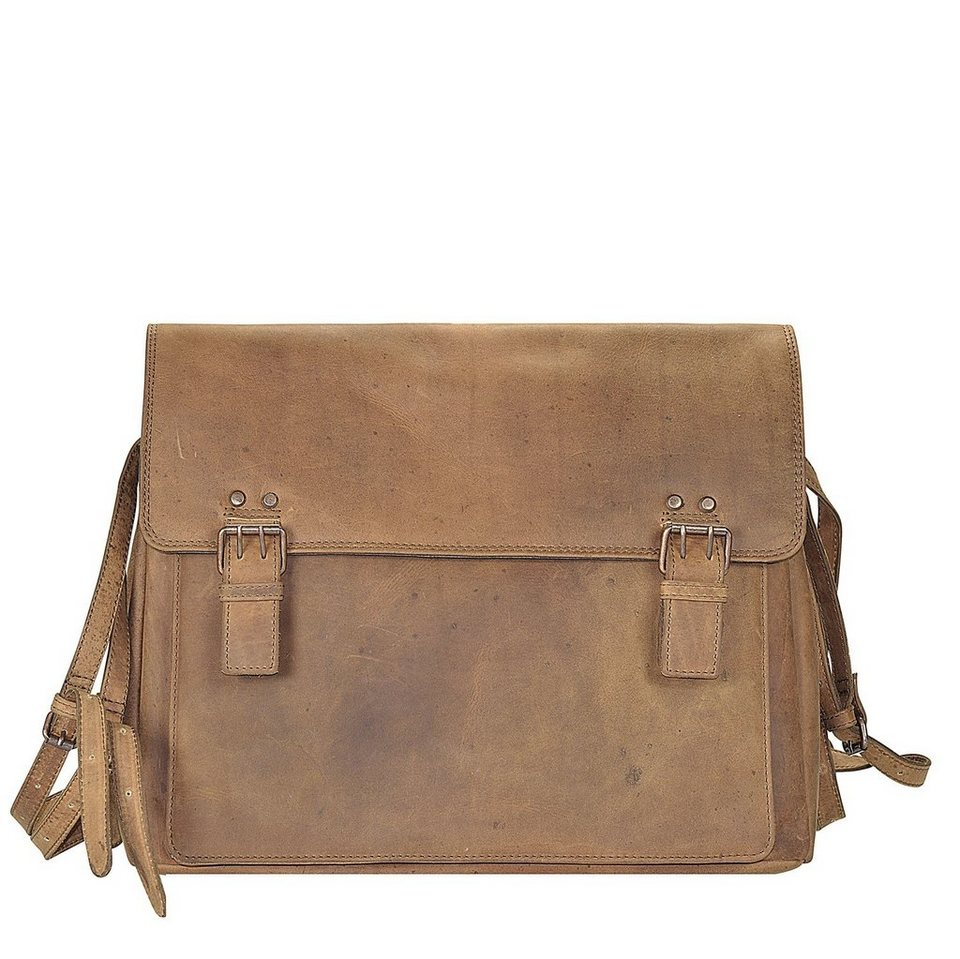 Harold's Antik Casual Messenger Leder 38 cm Laptopfach in nature