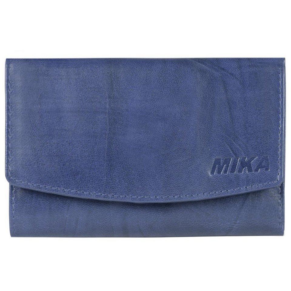 Mika Lederwaren Mika Accessoires Geldbörse Leder 14,5 cm in blau