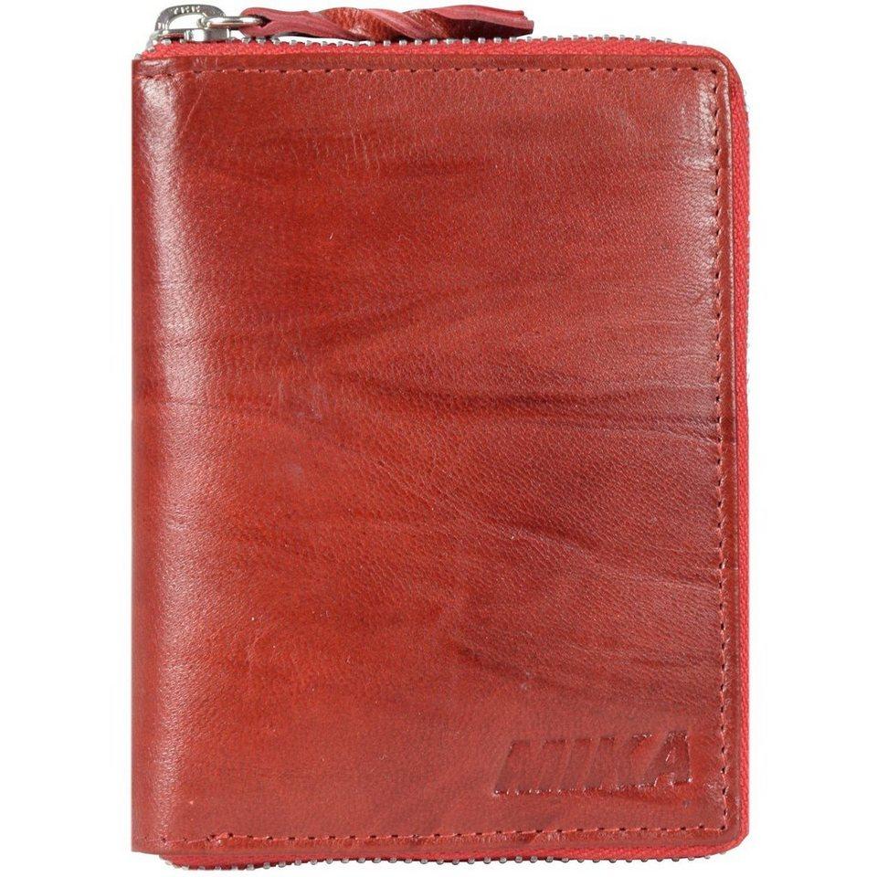 Mika Lederwaren Accessoires Geldbörse Leder 10 cm in rot