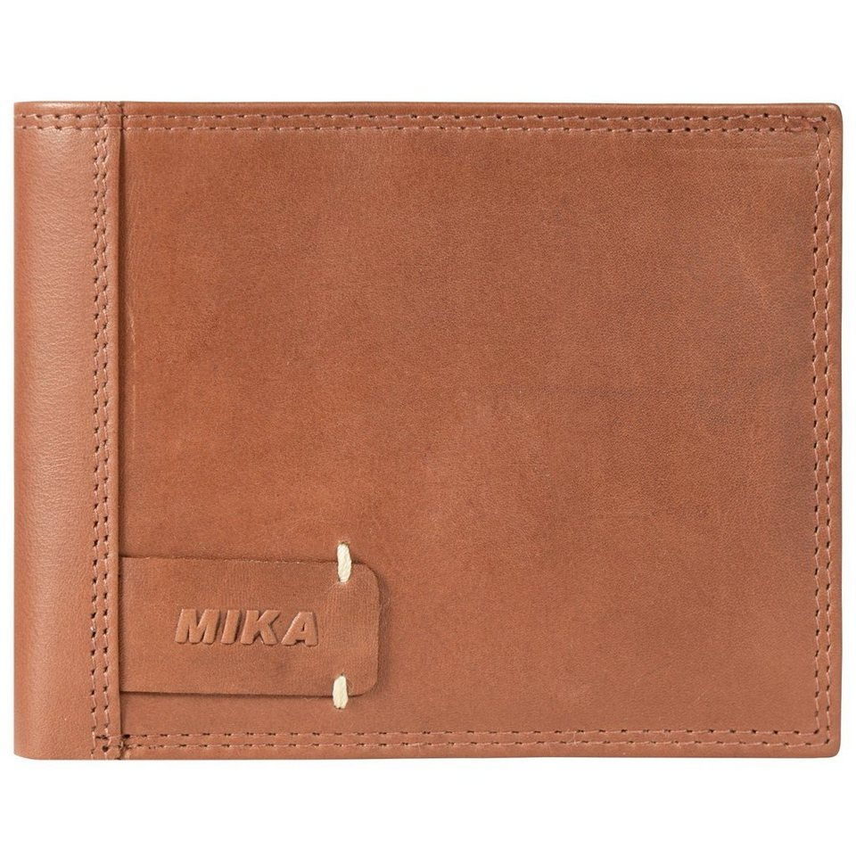 Mika Lederwaren Mika Accessoires Geldbörse Leder 12,5 cm in cognac