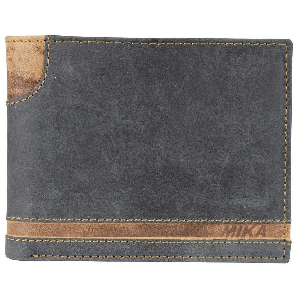 Mika Lederwaren Accessoires Geldbörse Leder 13 cm in black