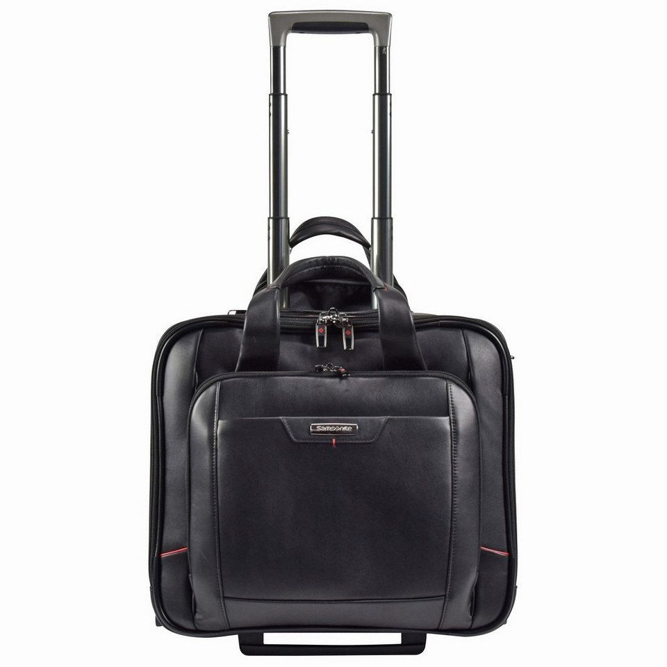 Samsonite Pro-DLX 4 LTH 2-Rollen Business Trolley Leder 43cm Laptopfach in black
