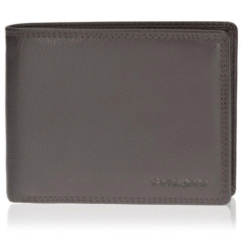 Samsonite Herren Geldbörse Querformat 78019 mit Klappfach und Reißverschlu in brown
