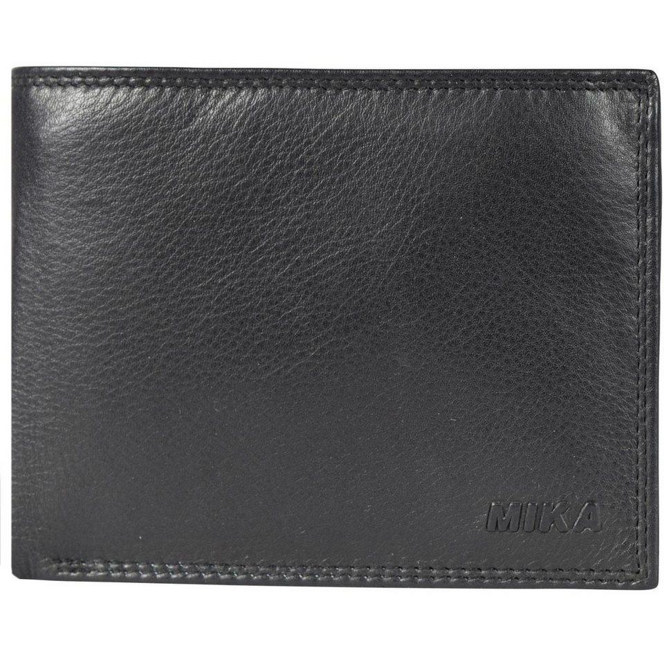 Mika Lederwaren Accessoires Geldbörse Leder 12,5 cm in black