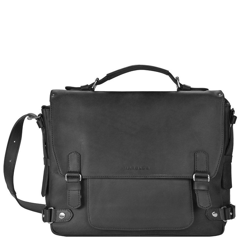 Harold's Ivy Court Aktentasche Leder 37 cm Laptopfach in schwarz