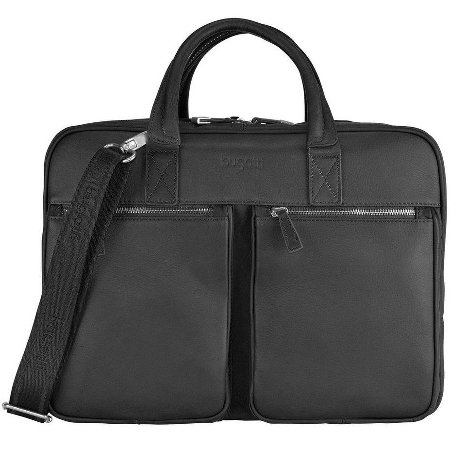 Bugatti Sartoria Aktentasche Leder Laptopfach 40 cm in schwarz