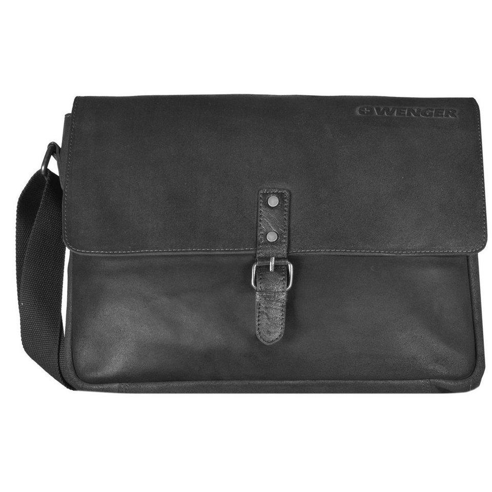 Wenger Foggy Messenger Umhängetasche Leder 38 cm Laptopfach in black