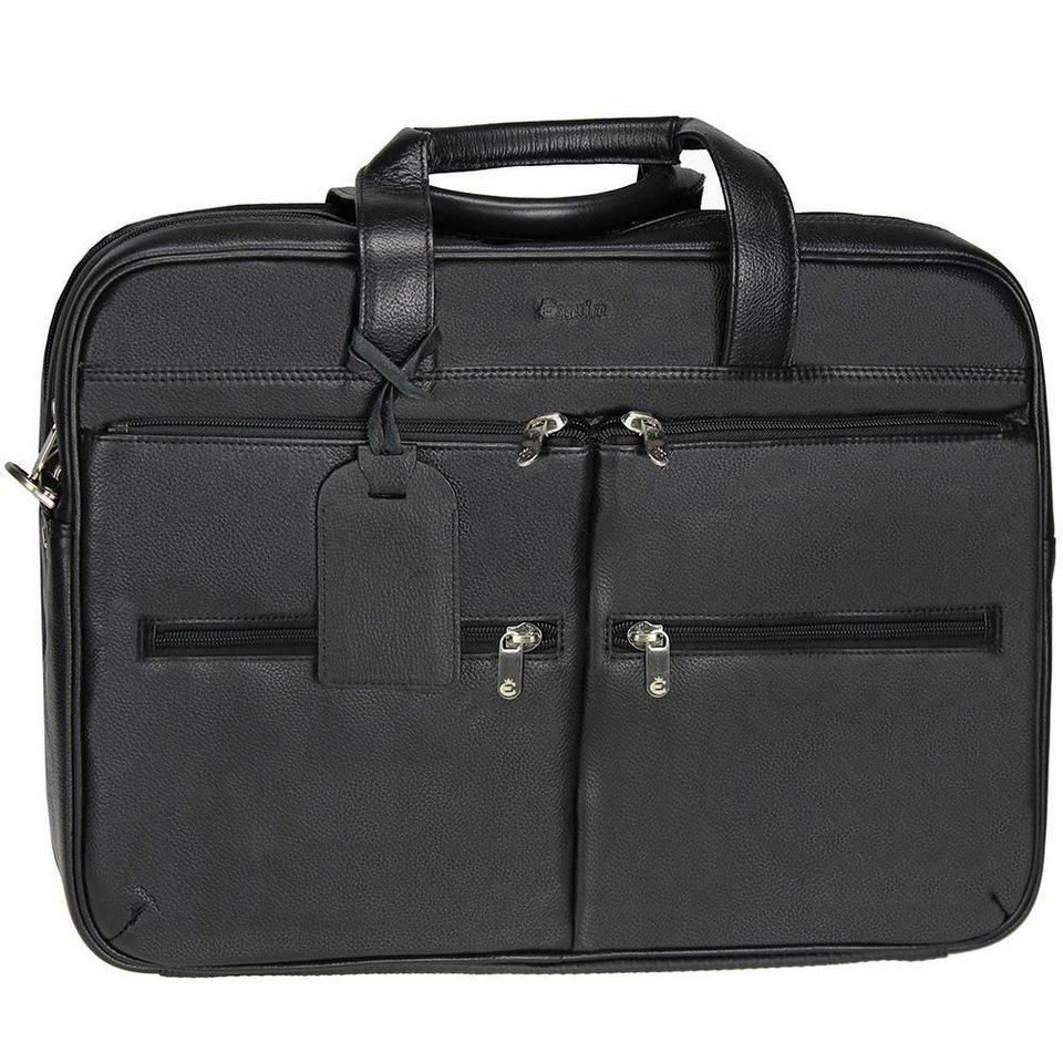 Esquire Esquire Courier Laptoptasche Leder 44 cm in black
