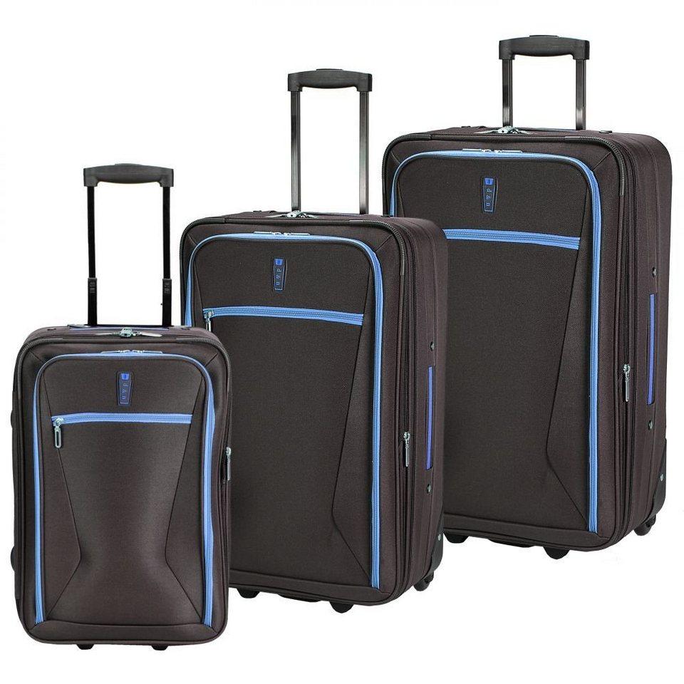 d & n Travel Line 9300 2-Rollen Trolley Set 3tlg in schwarz-blau