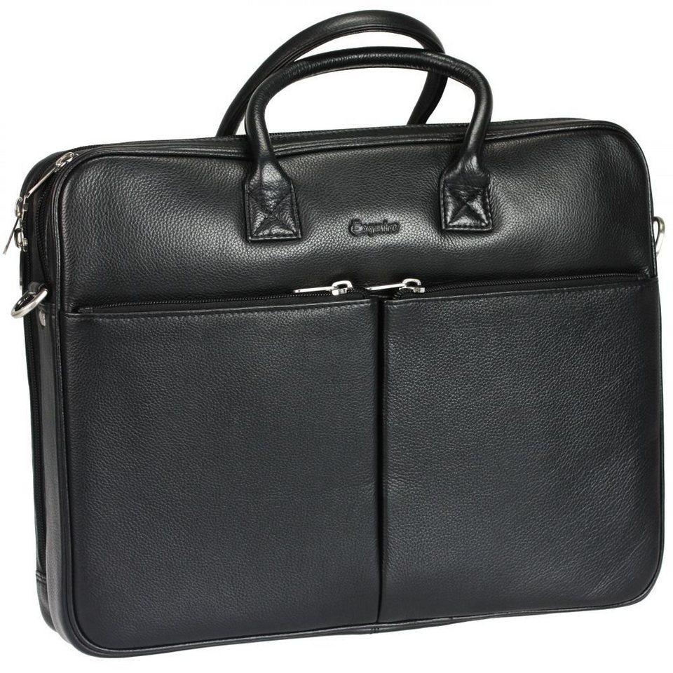 Esquire Esquire Courier Laptoptasche Leder 38 cm in black