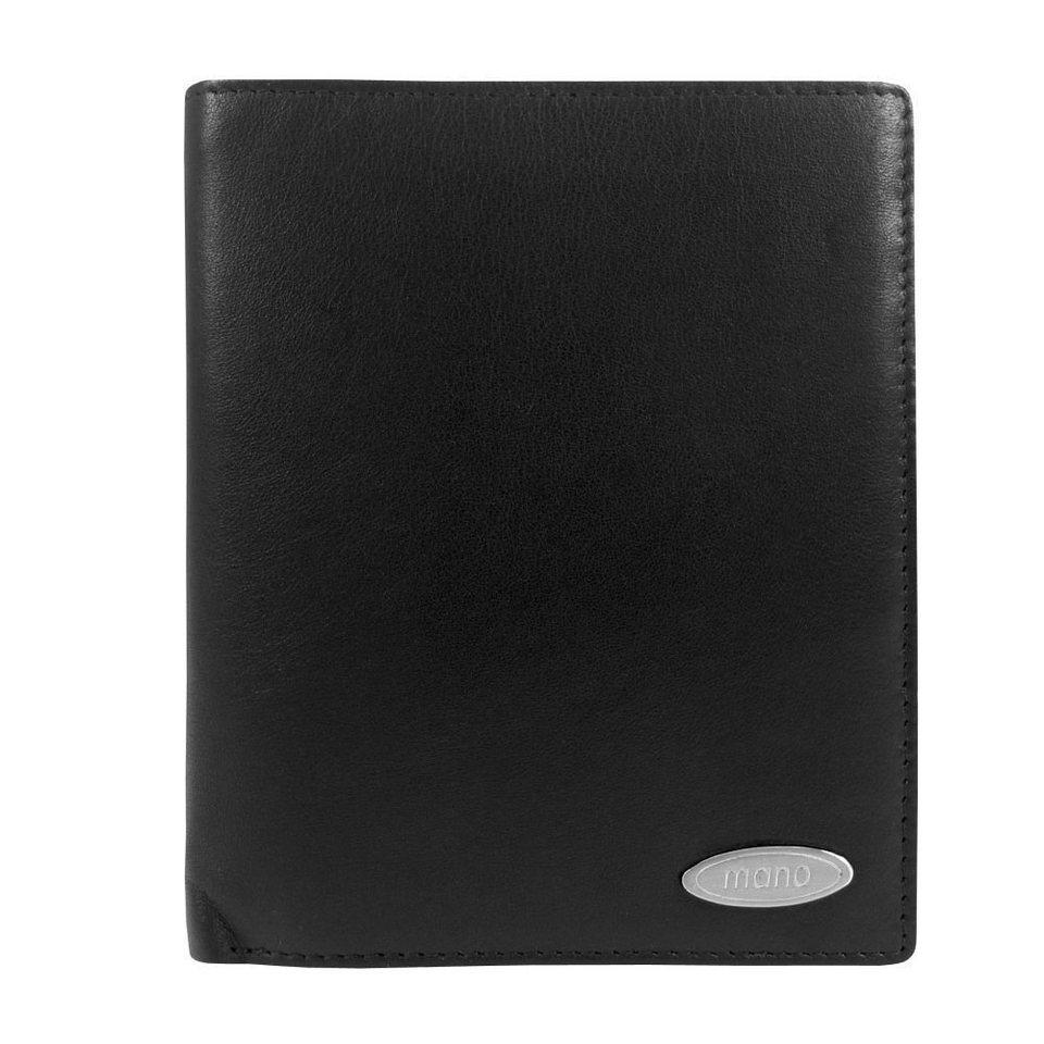 MANO Insido Geldbörse Leder 10,5 cm in schwarz/cognac