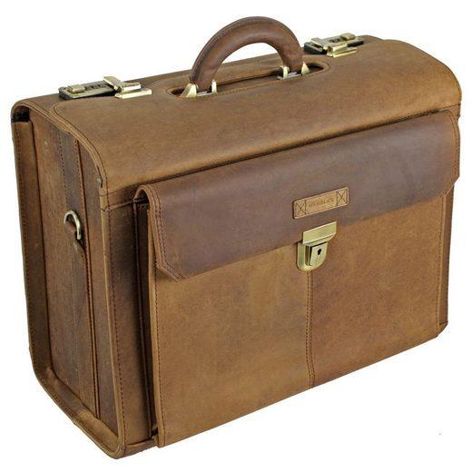 Harold's Antik Pilotenkoffer Leder 43 cm Laptopfach