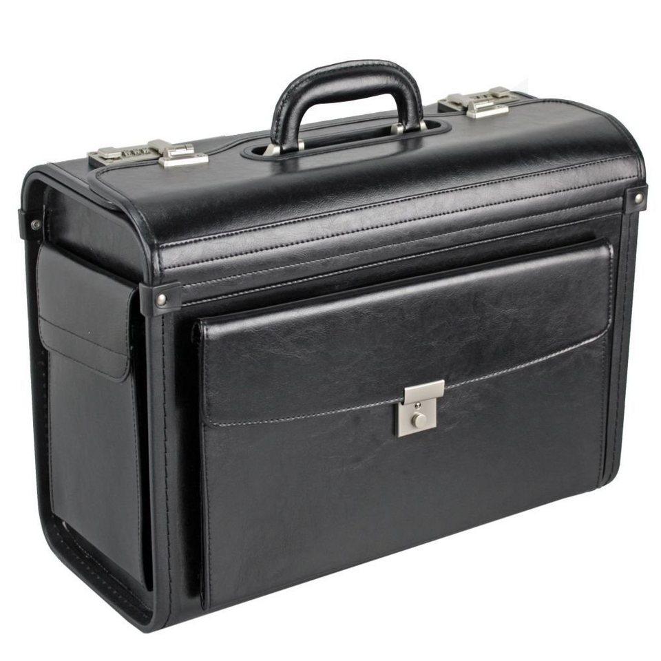 Dermata Pilotenkoffer Leder 45 cm in schwarz
