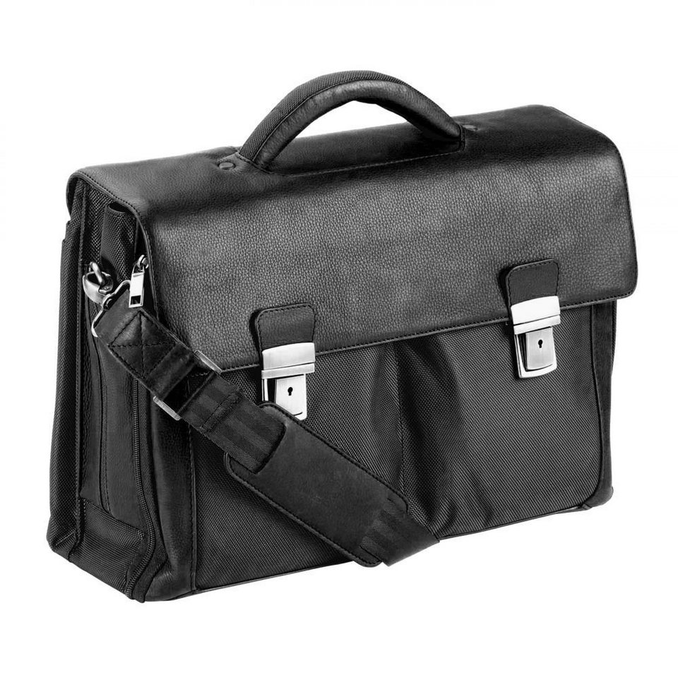 Dermata Aktentasche Leder 41 cm Laptopfach in schwarz