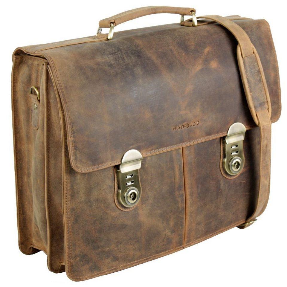 Harold's Antik Aktentasche Leder 41 cm Laptopfach in natur