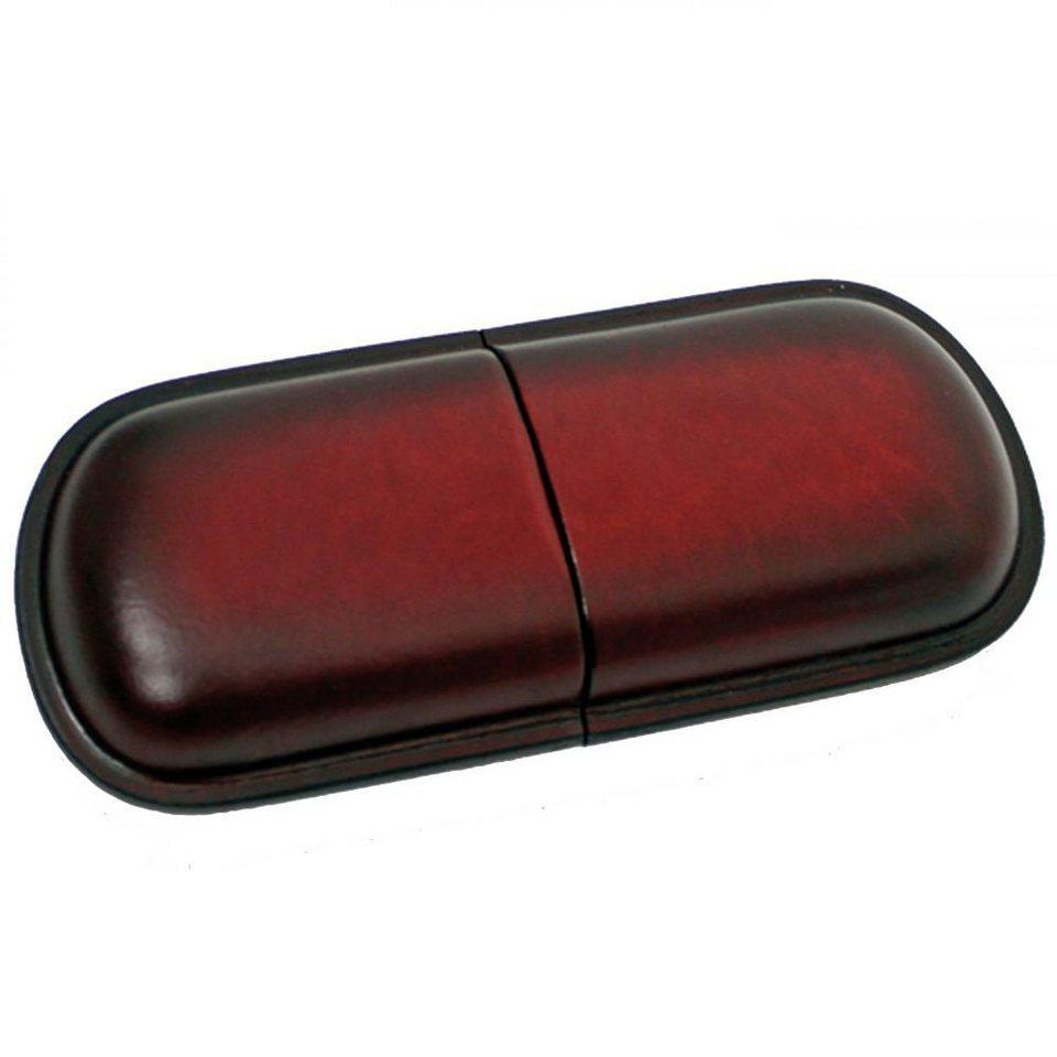 Mika Lederwaren Brillenetui groß Leder 18 cm in rot-braun