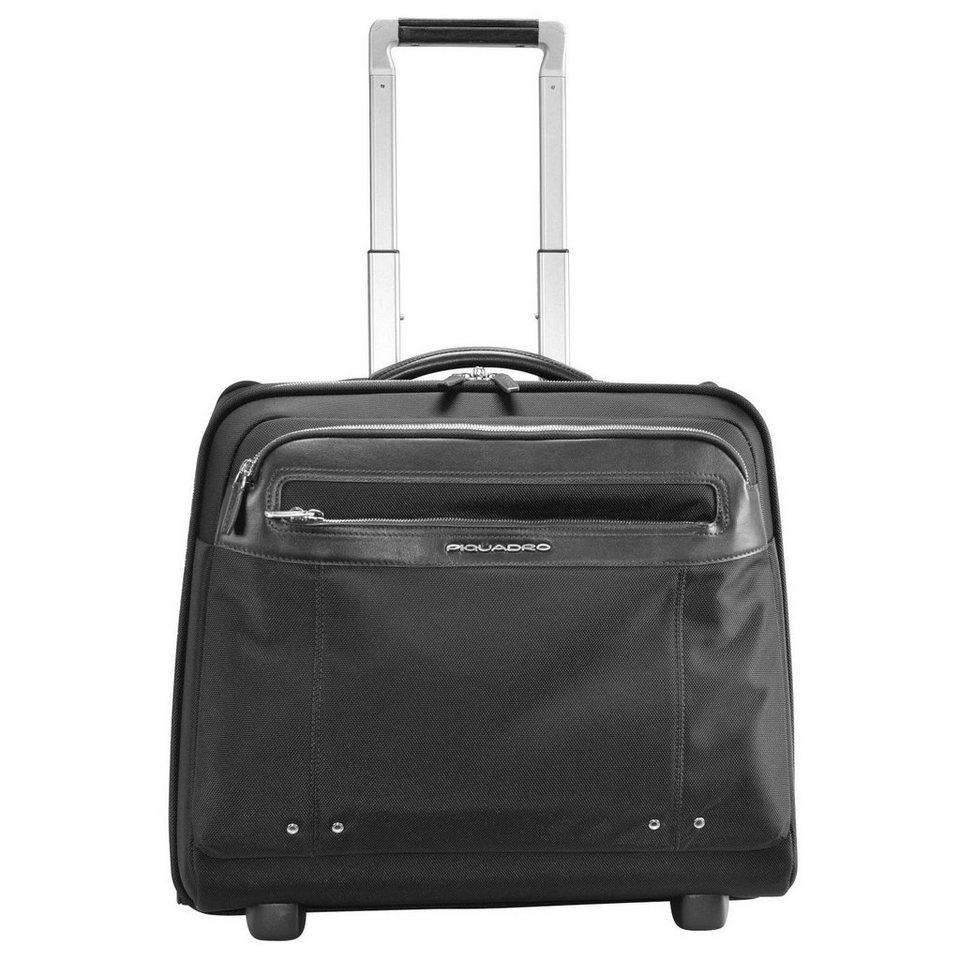 Piquadro Link 2-Rollen Business Trolley Leder 45 cm Laptopfach in black