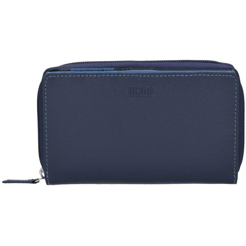 mano mano Conventus Geldbörse Leder 17 cm in dunkelblau-blau