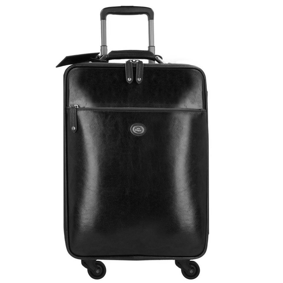 The Bridge The Bridge Story Viaggio 4-Rollen Kabinen-Trolley Leder 55 cm in nero