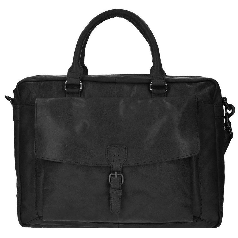 Spikes & Sparrow Bronco Aktentasche Leder 41 cm Laptopfach in black