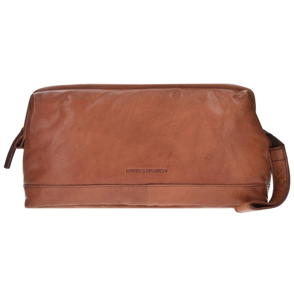 Spikes & Sparrow Toiletry Bag Kulturbeutel Leder 30 cm in brandy