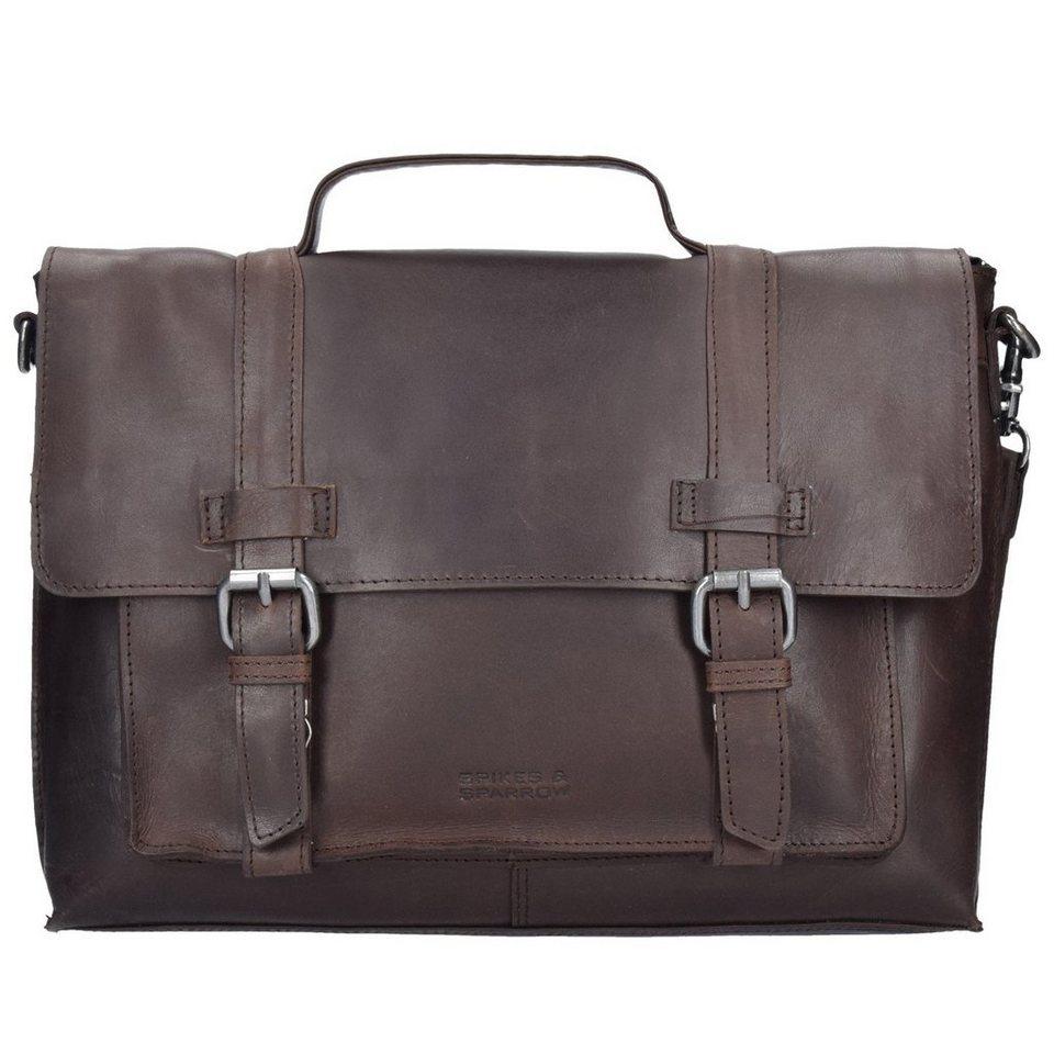 Spikes & Sparrow Belt Aktentasche Leder 35 cm Laptopfach in dark brown