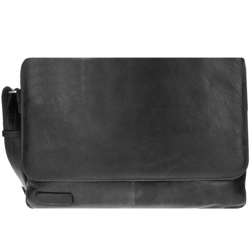 Plevier 400er Serie Aktentasche Leder 40 cm Laptopfach in schwarz
