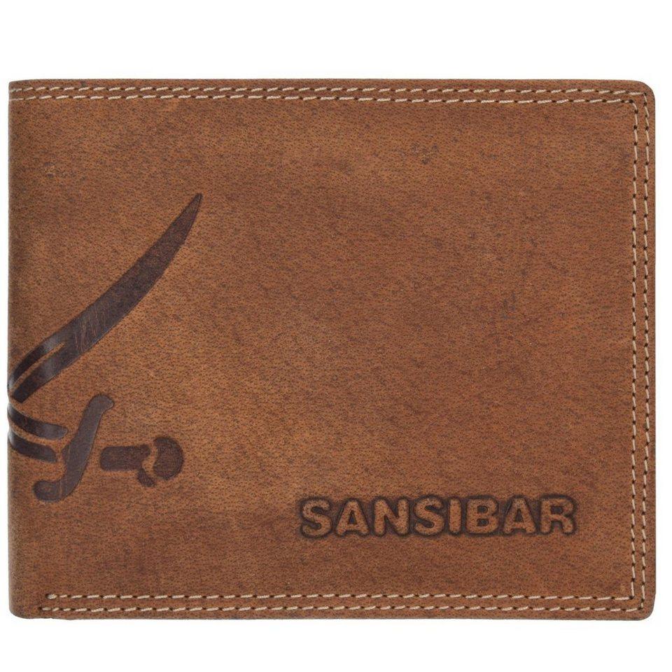 SANSIBAR List Herren Querformat Geldbörse Leder 12 cm mit Klappfach in brandy