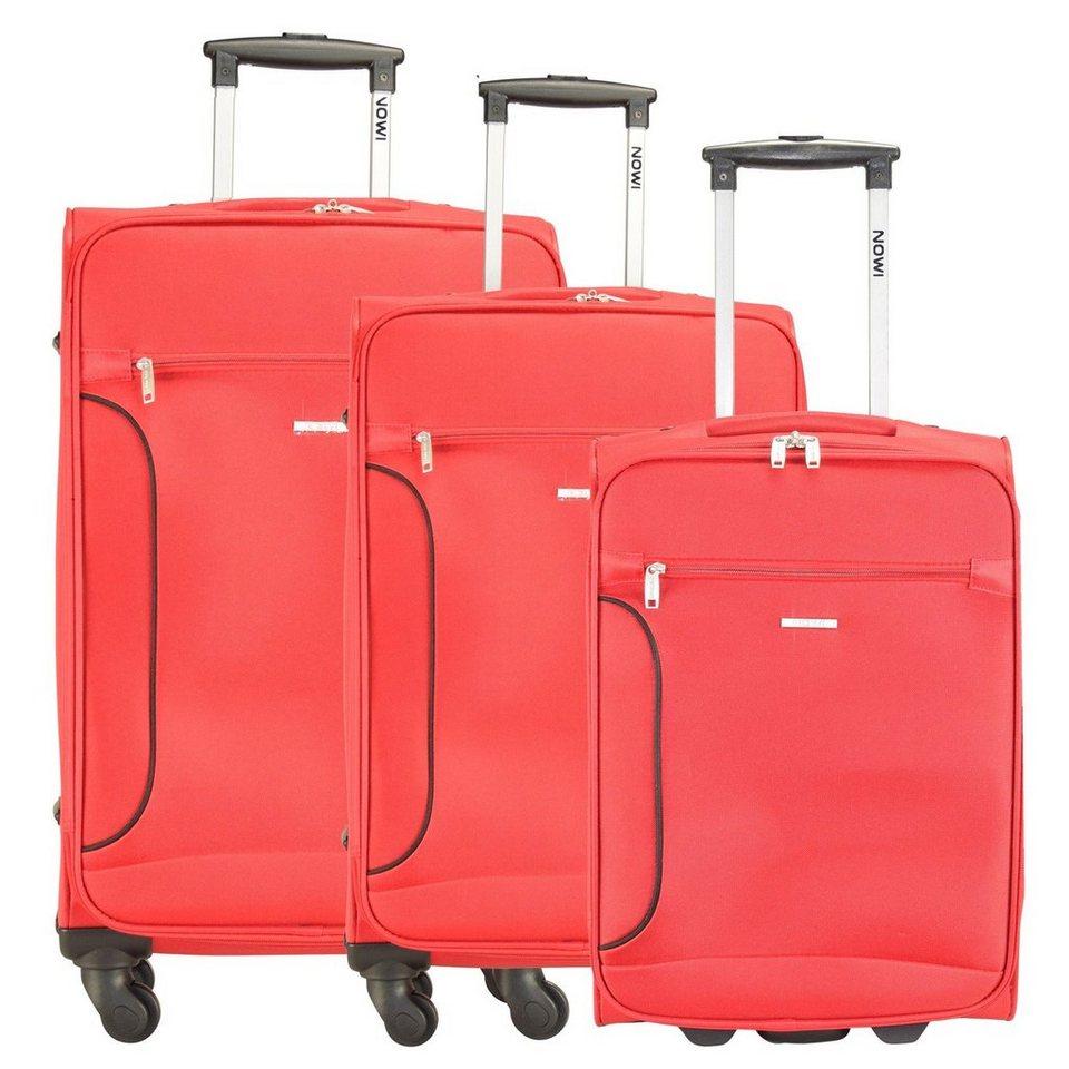 NOWI 2/4-Rollen Koffer Set 3tlg. in rot