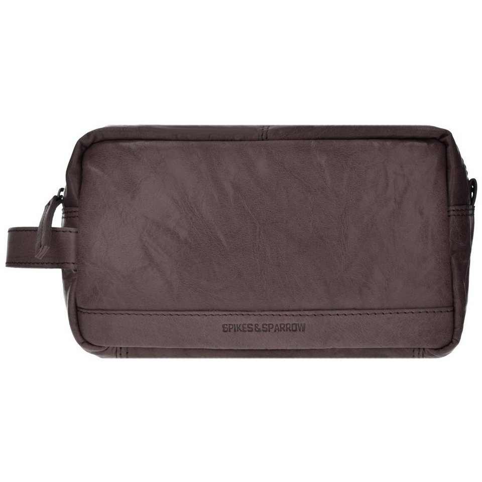 Spikes & Sparrow Toiletry Bag Kulturbeutel Leder 24 cm in dark brown