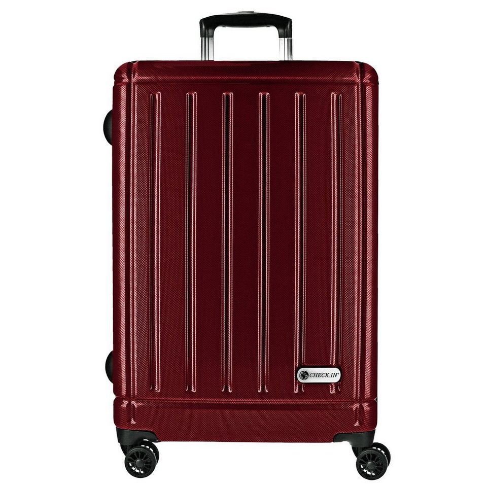 CHECK.IN Halifax 4-Rollen Trolley 78 cm mit Doppelrollen in carbon rot
