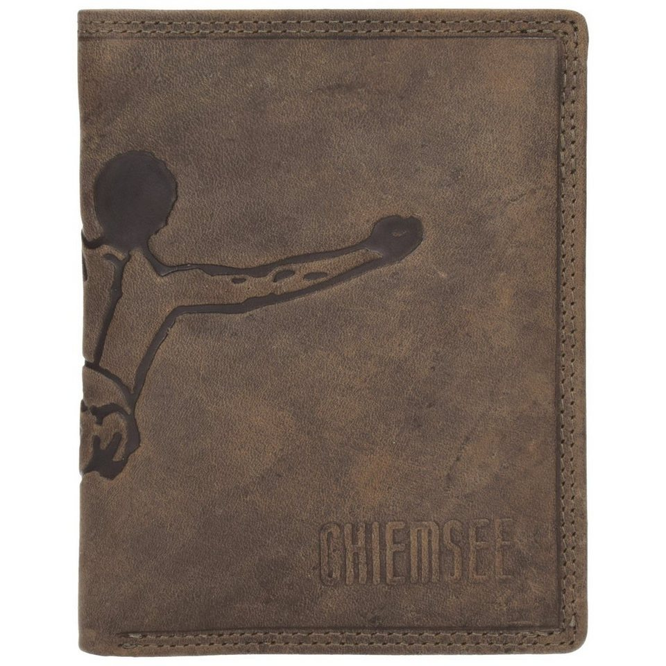 Chiemsee Vintage XL Geldbörse Hochformat Leder 10,5 cm mit Klappfach in dark brown