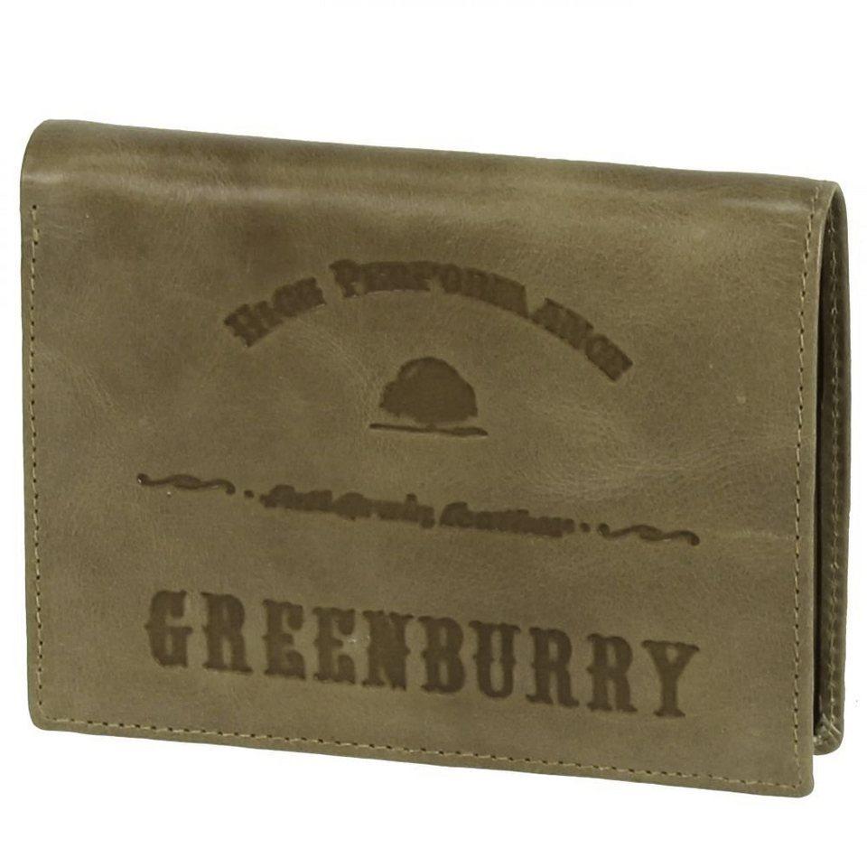 Greenburry Full Grain Vintage Geldbörse Leder 9,5 cm in army green